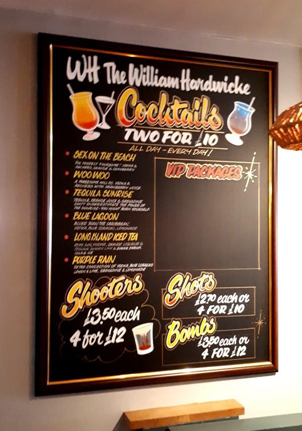 Hand Written Cocktails Chalkboard